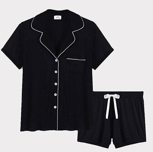 Black Bamboo Viscose Cotton Pyjama Shorts Set