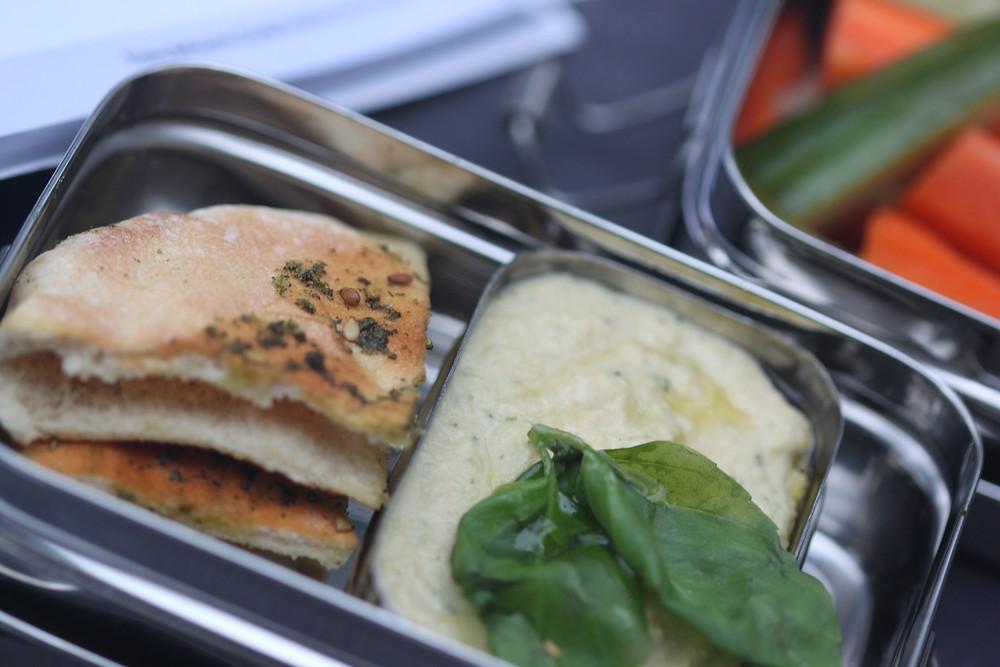 Zucchini Edamame Hummus with Pita Za'atar bread