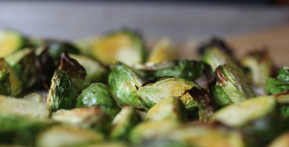Brussel sprouts on a baking tray