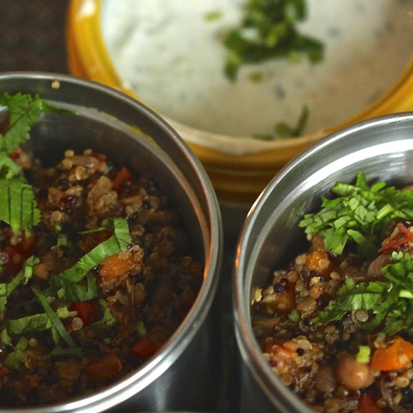 Spiced Quinoa chickpea pilaf and cucumber raita