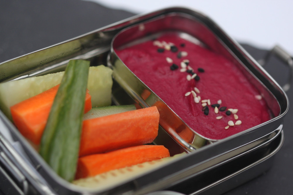 Roasted Beet Hummus with Carrots and Cucumbers