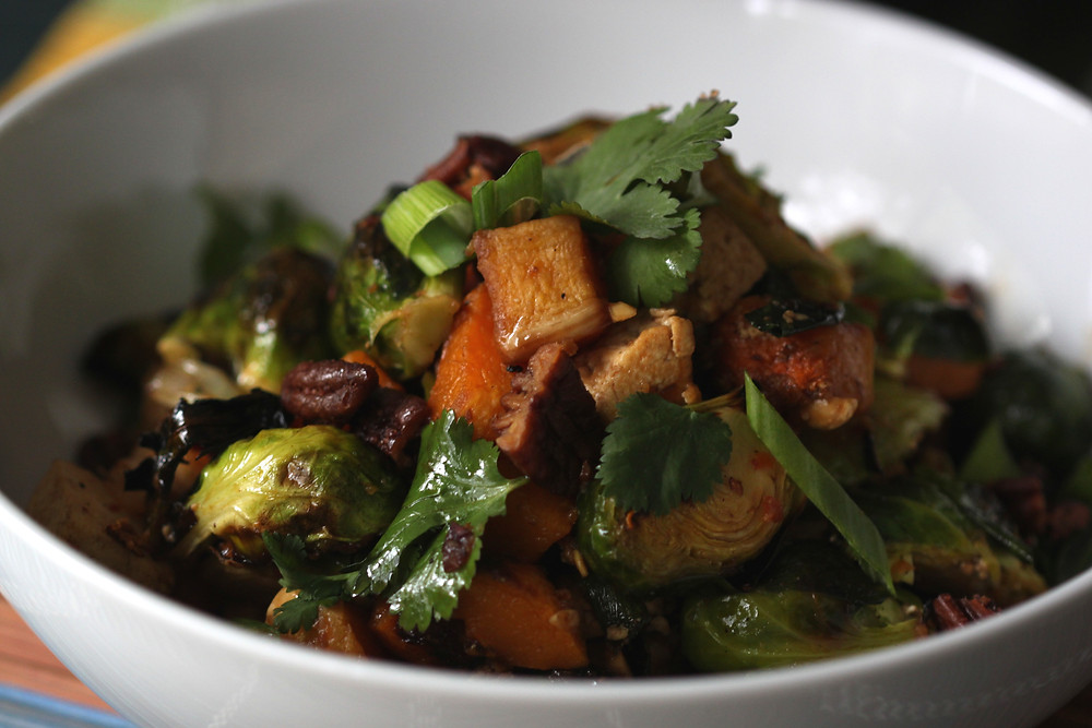 Brussel sprouts, butternut squash, and tofu salad