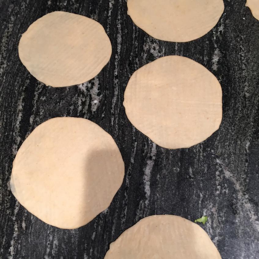 Rolled dough circles