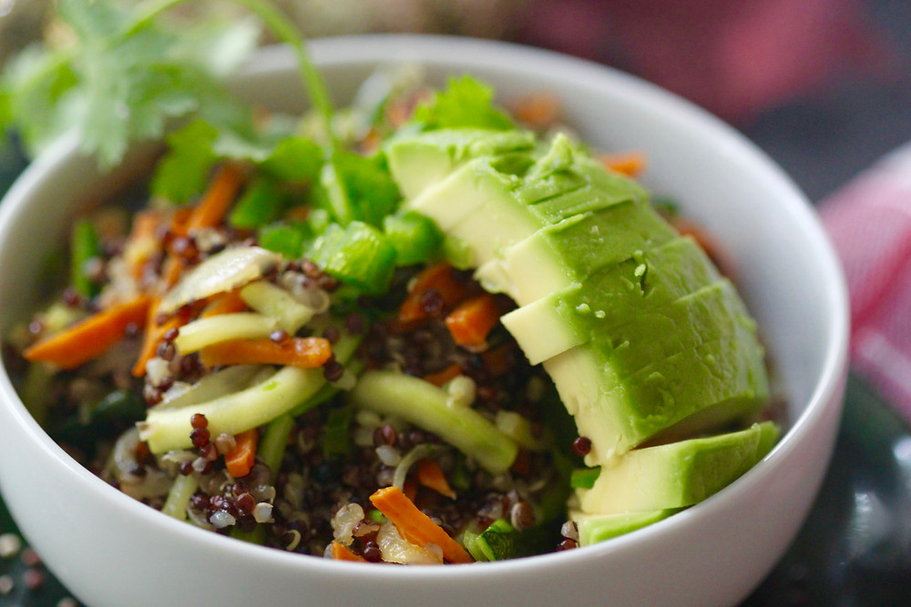 A close up of the vegetable quinoa salad