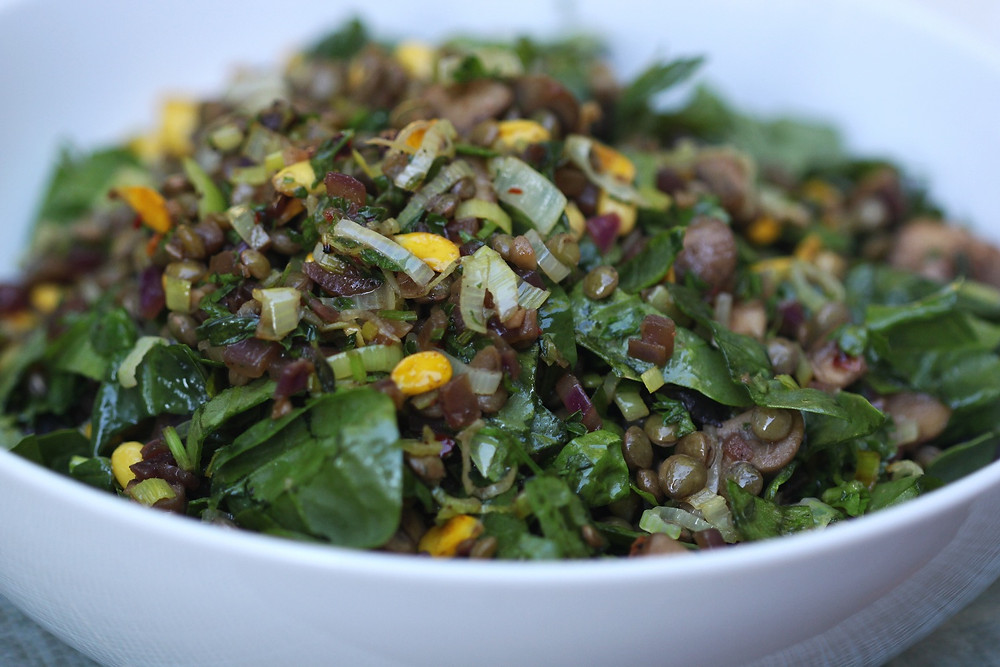 Protein packed green lentil salad