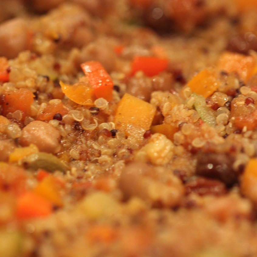 Cooking spicy quinoa chickpea pilaf