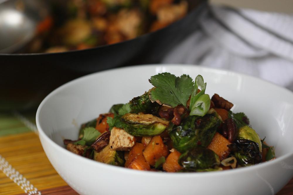 Brussel sprouts, butternut squash, tofu salad