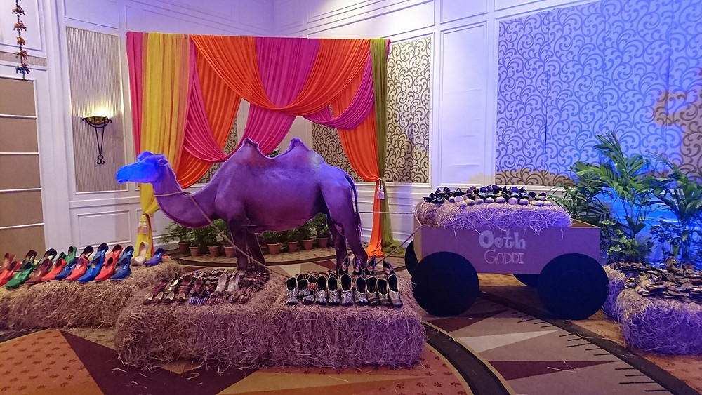 "A traditional ""Rajasthani"" decor for the Mehndi function"