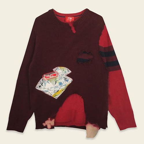 DIAMOND GIRL RECONSTRUCTED SWEATER