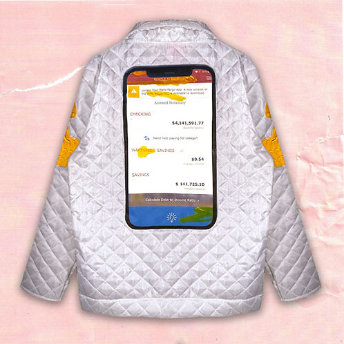 MOBILE BANKING QUILTED SHIRT JACKET