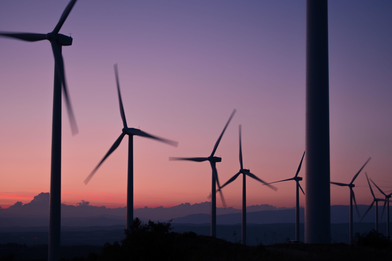 wind turbines dusk
