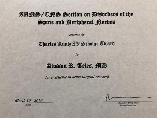 Prêmio Charles Kuntz e Melhor trabalho científico - Spine Summit 2019