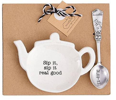 Sip It Real Good Teapot Spoon Rest Set