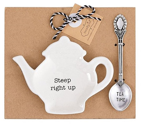 Steep Right Up Teapot Spoon Rest Set