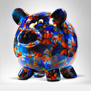 Blue Pig Money Bank