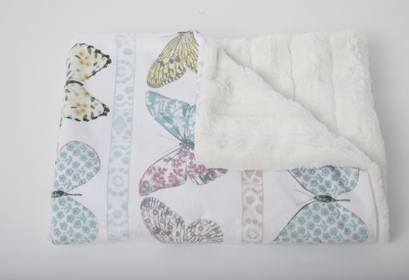 Garden Butterflies Baby Blanket in Channel White
