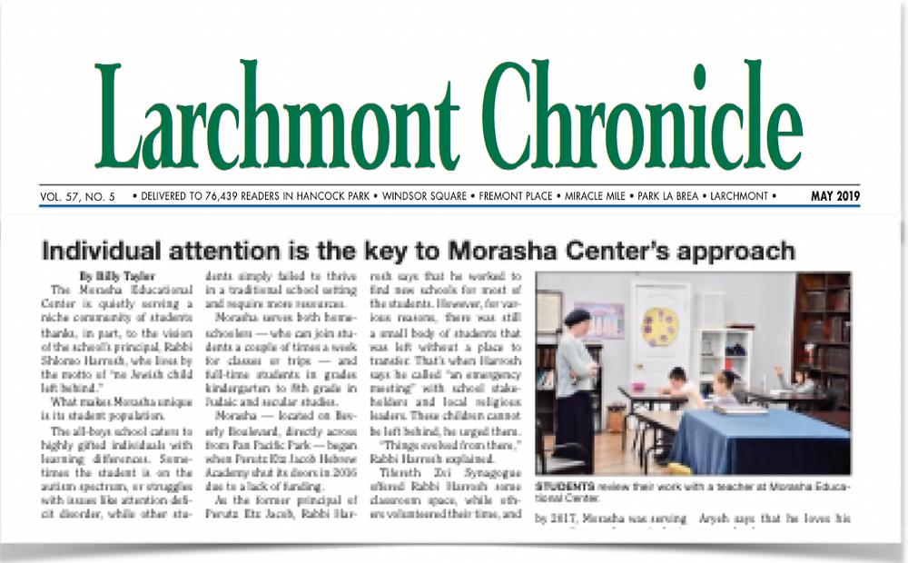 Larchmont chronicle school article Morasha