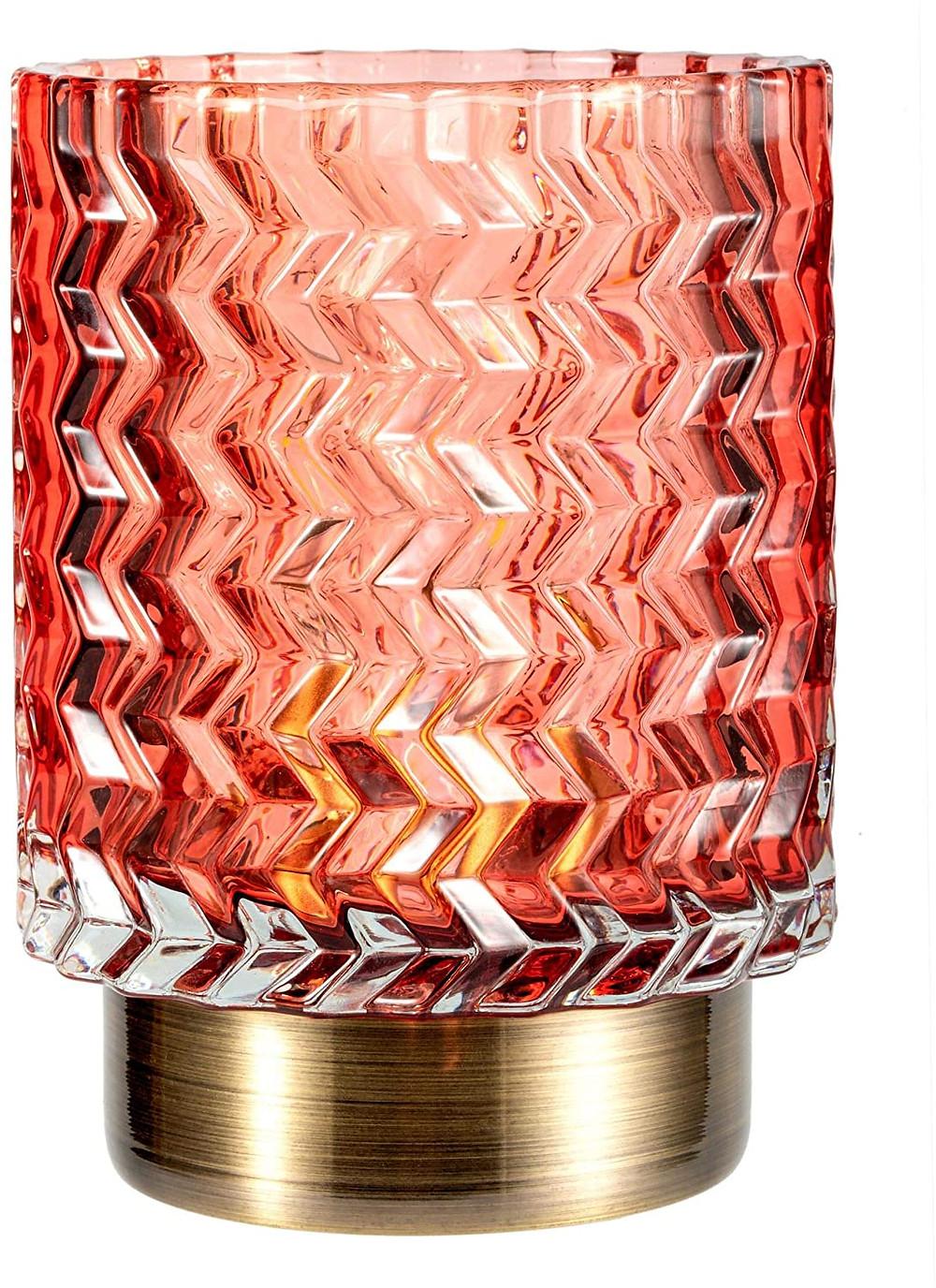 Lampe à piles en verre rouge rose orange