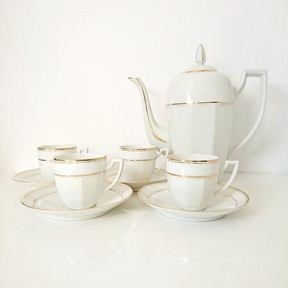 Service à thé en céramique vintage élégant blanc et doré