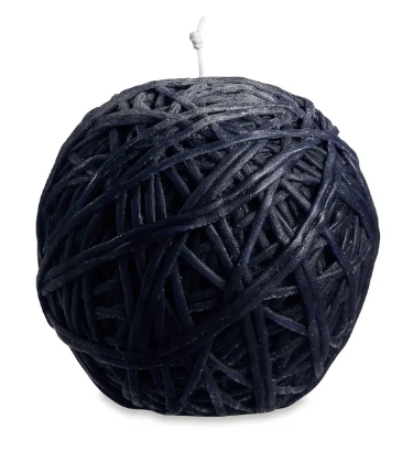 Gomitolo black wool ball candle
