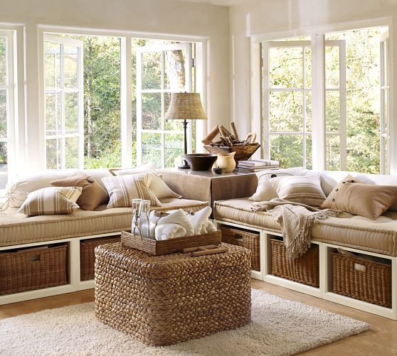Cozy warm living room with outdoor view