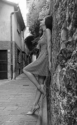 young woman in black and white in Italy street.jpg