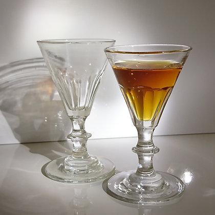 Lot de 2 verres à liqueur en verre fabriqués à la main