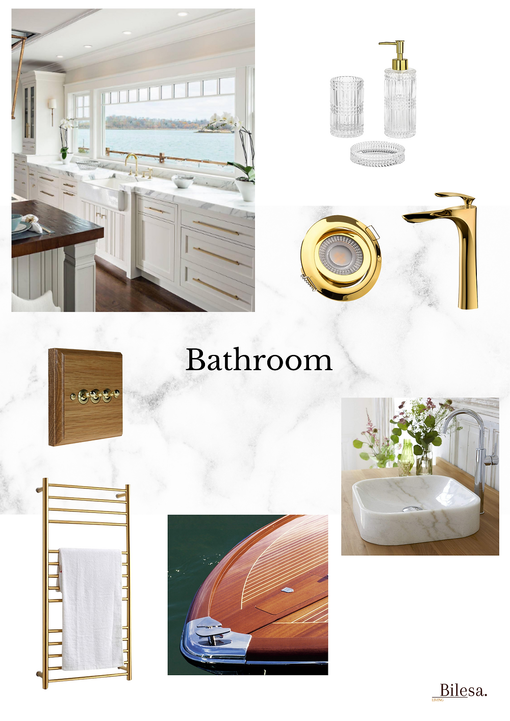 Master bathroom mood board in marble and gold