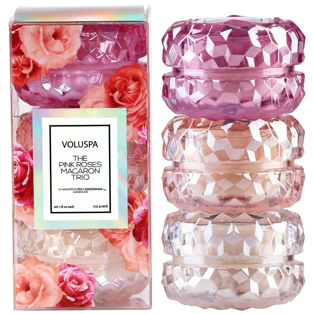 Valentine's day gift idea. Voluspa pink rose macaron trio.