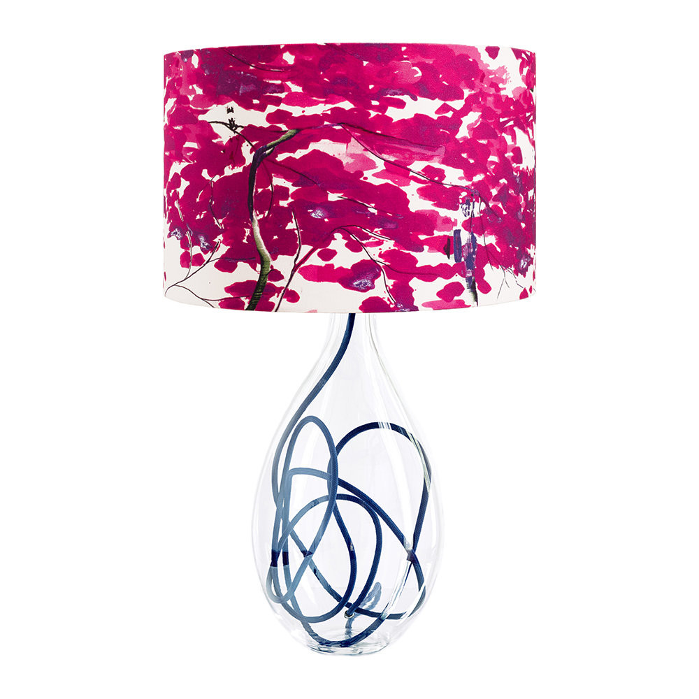 Pink and purple floraly lamp with glass base