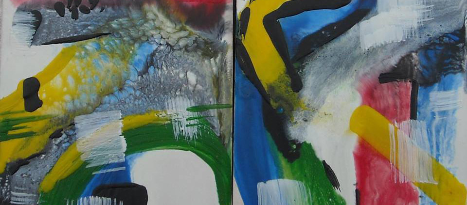 Barcelona Encaustic Diptych Art  |  Abstract Art  |  AVAILABLE