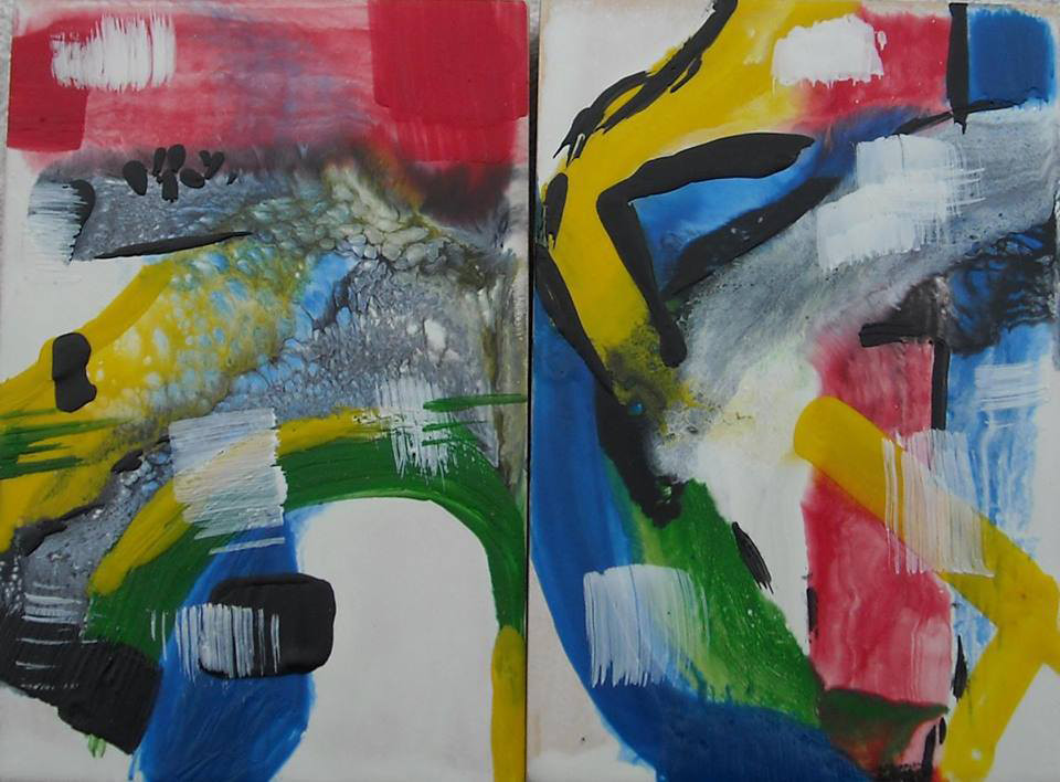 Barcelona Encaustic Diptych Art     Abstract Art     AVAILABLE