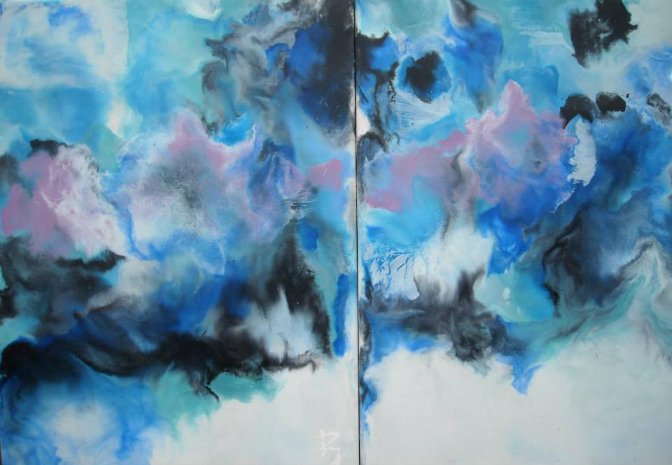Encaustic Diptych Art     AVAILABLE