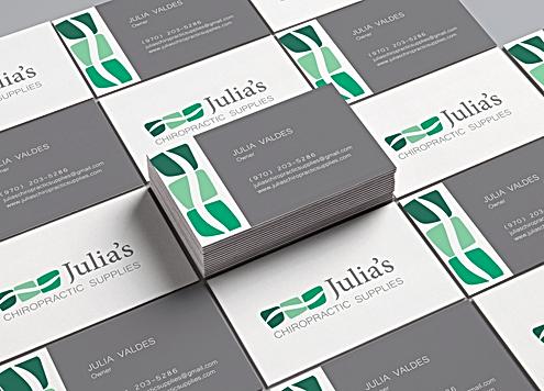 Business Card design for Julia's Chiro Supplies