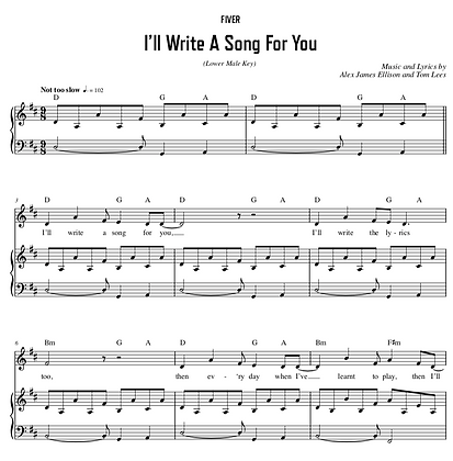 I'll Write A Song For You - D Major (Lower Male Key)