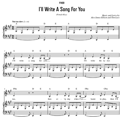 I'll Write A Song For You - A Major (Female Key)
