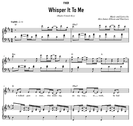 Whisper It To Me - D Major (Higher Female Key)