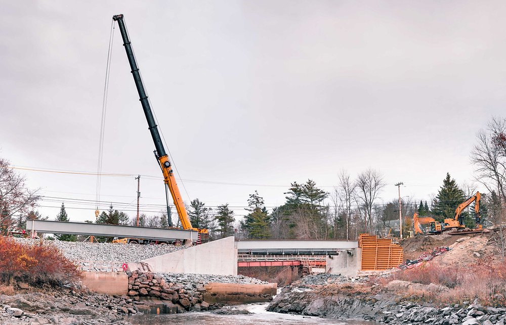 Grist Mill Bridge Construction in Hampen, ME, using Composite GBeam technology
