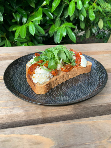 Mozzarella and Sun-dried Tomato open Sandwich
