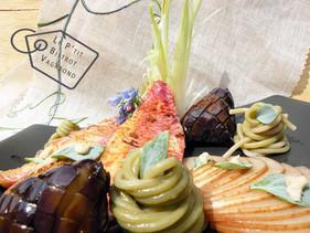 Rouget au chalumeau, Nashi et Aubergines au Yuzu, Pâtes au Thé Vert, Mertensie, Wasabi