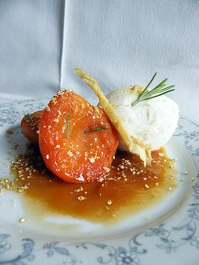Abricots Caramel à l'Huile d'Olive & Glace au Lait d'Amande Poudre de Limoncello