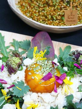 Ni cuit ni cru d'Œuf sur Salade Composée, Vinaigrette Matcha/Hatcho Miso