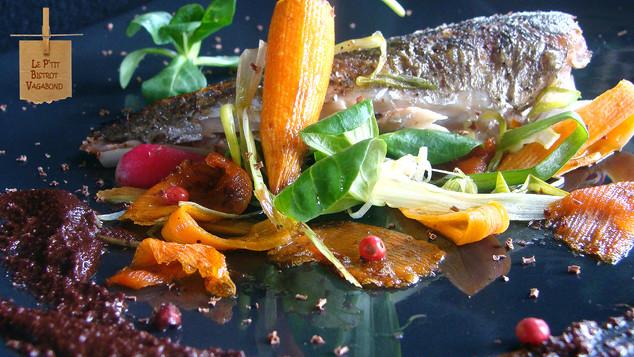 Tacaud Poêlé, Petits Légumes en Pickles, Moutarde Chocolatée