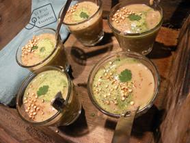Cocooning: châtaigne, poire, coriandre, quinoa soufflé.
