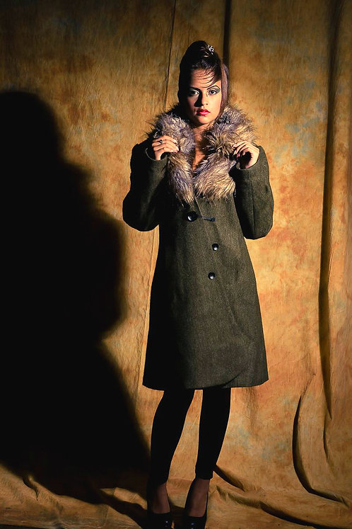 wool winter coat with fur double collar