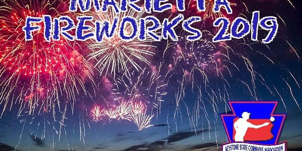 Marietta Fireworks cornhole tournament