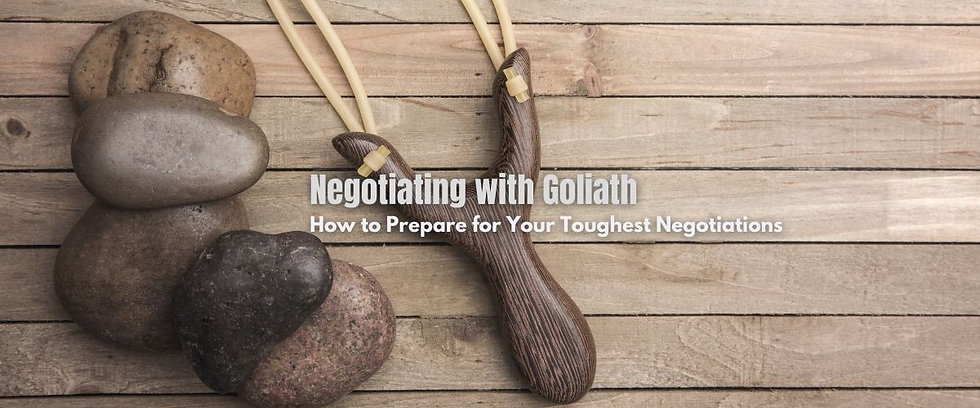 Negotiating with Goliath workshop banner