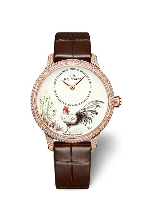Les Ateliers D'Art Petite Heure Minute Rooster腕錶 直徑35毫米18K紅金鑲鑽錶殼,象牙式大明火琺瑯錶盤,微繪裝飾/偏心時分指示/JAQUET DROZ 2653.P自動上鍊機芯,動力儲存約68小時/限量28枚,HKD$300,800