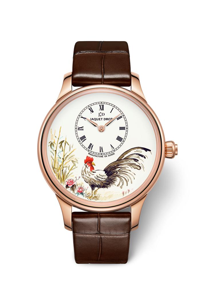 Les Ateliers D'Art Petite Heure Minute Rooster腕錶 直徑39毫米18K紅金錶殼,象牙式大明火琺瑯錶盤,微繪裝飾/偏心時分指示/JAQUET DROZ 2653.P自動上鍊機芯,動力儲存約68小時/限量28枚,HKD$245,400