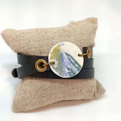 Bracelet PoP cuir et porcelaine